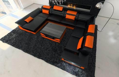 XXL Wohnlandschaft Enzo schwarz-orange