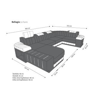 Ledersofa Wohnlandschaft BELLAGIO U-Form schwarz-pink - Vorschau 4