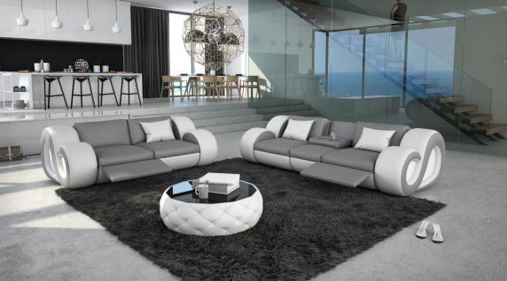 Couchgarnitur mit Relaxfunktion und Beleuchtung 3er 2er Nesta