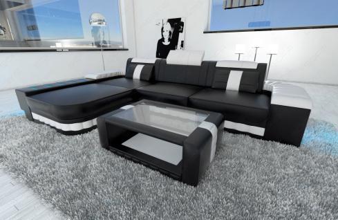 Ledercouch BELLAGIO L-Form mit LED Beleuchtung schwarz-weiss - Vorschau 4