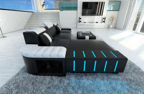 Ledercouch BELLAGIO L-Form mit LED Beleuchtung schwarz-weiss - Vorschau 3
