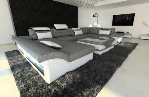 Designer Wohnlandschaft Enzo als modernes U Form Stoffsofa mit Licht