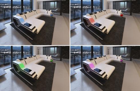 Ledersofa Ravenna in L Form auch mit Bettfunktion und LED Licht - Vorschau 3