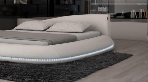 Modernes Design Bett Modica im Komplettset mit LED Bleuchtung in weiss
