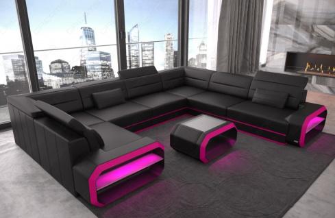 Design Leder Wohnlandschaft Verona U mit LED Beleuchtung - Vorschau 2