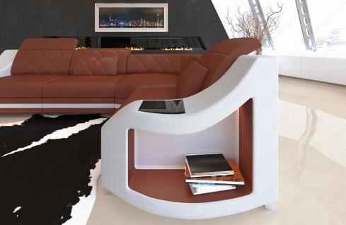 Leder Ecksofa Genua L Form mit LED Beleuchtung - Vorschau 3