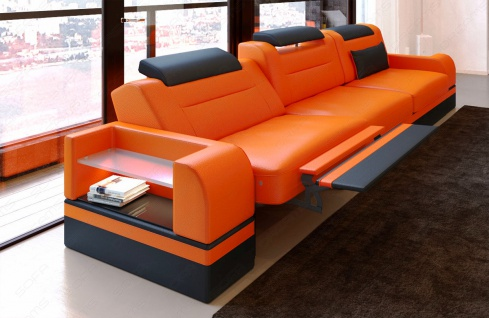 Design Leder 3 Sitzer Parma mit opt. Hocker und LED Beleuchtung