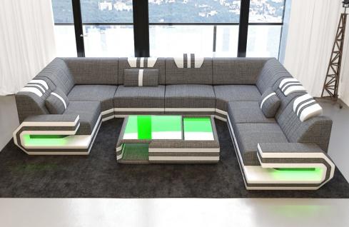Luxus Stoff Wohnlandschaft Ragusa U Form mit LED Beleuchtung - Vorschau 4