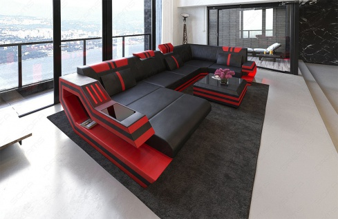 Sofa Wohnlandschaft Ravenna als U Form mit LED Beleuchtung