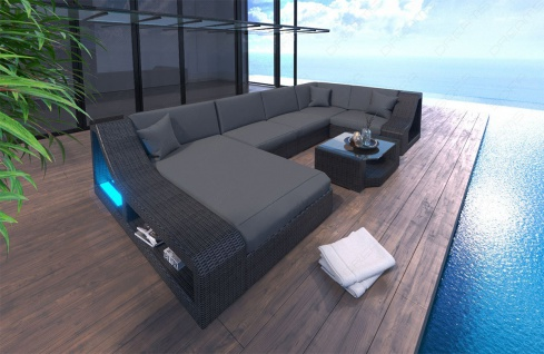 Poly Rattan Sofa Turino LED für Garten oder Terrasse