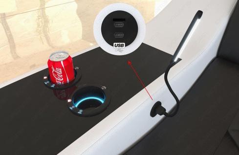 Leder Wohnlandschaft Swing U Form mit USB Anschluss und Ottomane - Vorschau 4