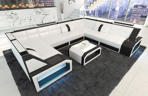Sofa Wohnlandschaft Pesaro in der U Form mit LED Licht