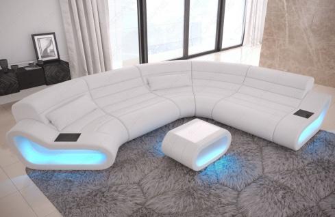 Ledersofa Wohnlandschaft mit LED Beleuchtung Concept Modulsofa Farbauswahl