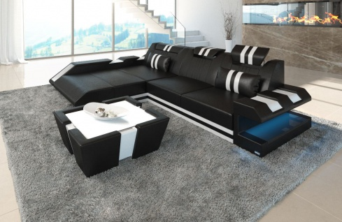 ledersofa apollonia l form schwarz weiss kaufen bei pmr. Black Bedroom Furniture Sets. Home Design Ideas