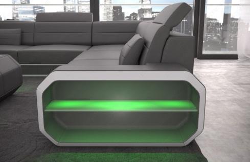 Design Leder Wohnlandschaft Verona U mit LED Beleuchtung - Vorschau 4
