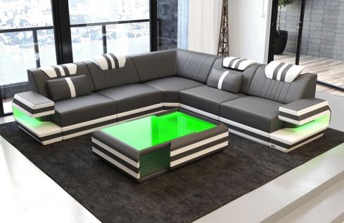 Luxus Couch Ragusa L Form mit Lederbezug und LED Beleuchtung