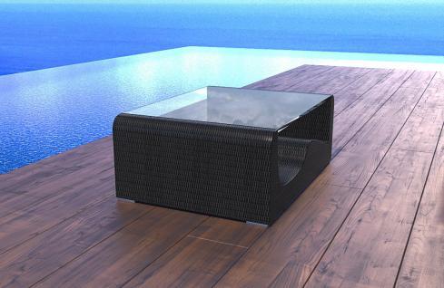Poly Rattan Tisch Gartentisch Wave