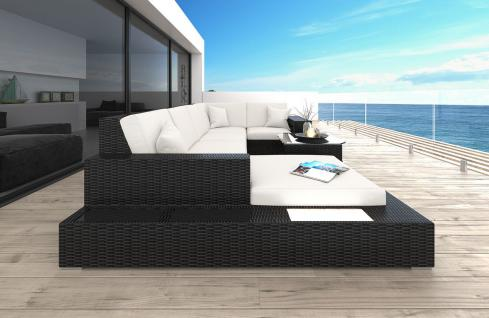 Polyrattan Sofa Lounge Messana U Form Gartensofa mit Lampen - Vorschau 2