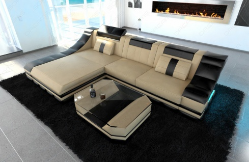 Sofa Turino in Leder als modernes L Form Ecksofa - Vorschau 2