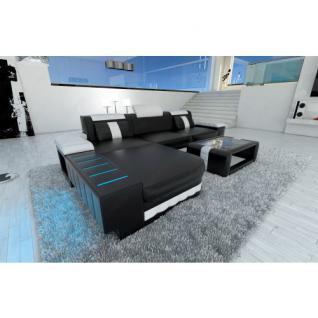 Ledercouch BELLAGIO L-Form mit LED Beleuchtung schwarz-weiss - Vorschau 1