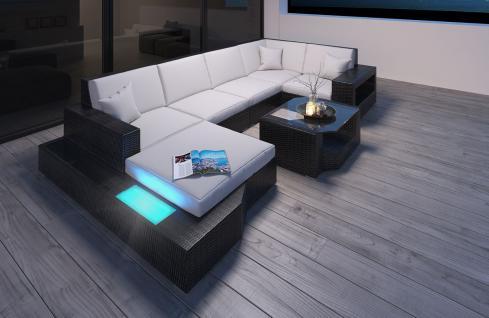Polyrattan Sofa Lounge Messana U Form Gartensofa mit Lampen - Vorschau 3