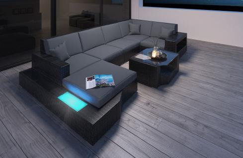 Polyrattan Sofa Lounge Messana U Form Gartensofa mit Lampen - Vorschau 4