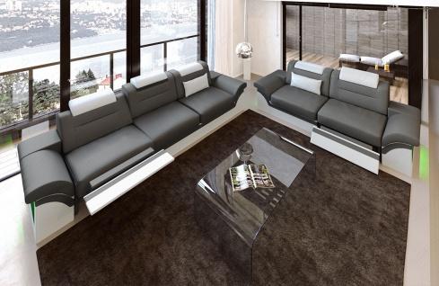 Leder Sofagarnitur Monza mit 3 Sitzer und 2 Sitzer Sofa - Vorschau 2