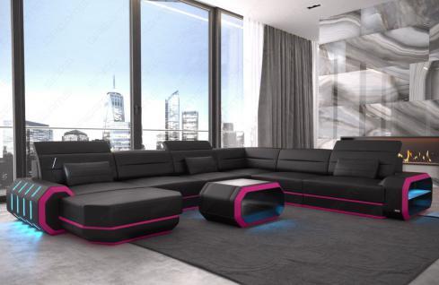 Leder Wohnlandschaft Roma XXL als U Form Sofa mit Beleuchtung - Vorschau 3