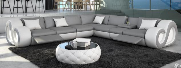 Leder Couch Nesta L-Form XXL mit Beleuchtung