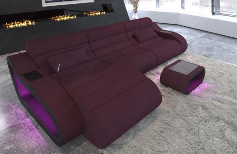 Polsterstoff Sofa München L Form lang mit USB und Ottomane