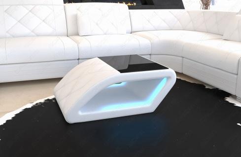 Leder Couchtisch Swing mit LED Beleuchtung und schwarzer Glasplatte - Vorschau 4