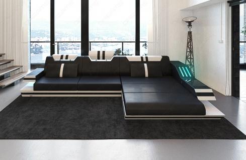 Ledersofa Ravenna in L Form auch mit Bettfunktion und LED Licht - Vorschau 2