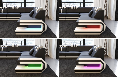 Luxus Stoff Wohnlandschaft Ragusa U Form mit LED Beleuchtung - Vorschau 3