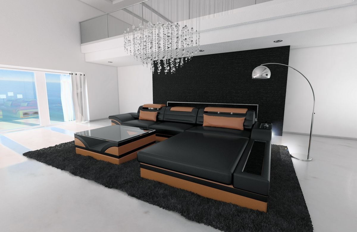 ledersofa parma l form schwarz braun kaufen bei pmr. Black Bedroom Furniture Sets. Home Design Ideas