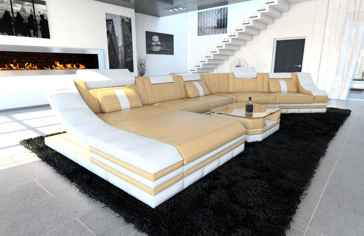 Xxl Wohnlandschaft Turino Cl Form Sandbeige Weiss Kaufen Bei Pmr