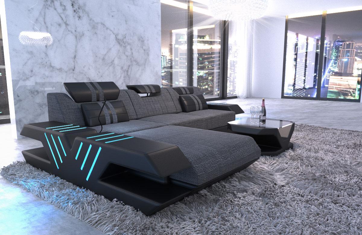 stoff sofa venedig l form mit led beleuchtung und. Black Bedroom Furniture Sets. Home Design Ideas