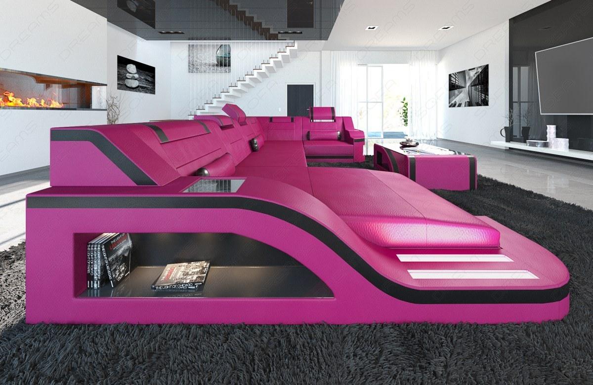 leder wohnlandschaft palermo als u form auch mit bett zum. Black Bedroom Furniture Sets. Home Design Ideas