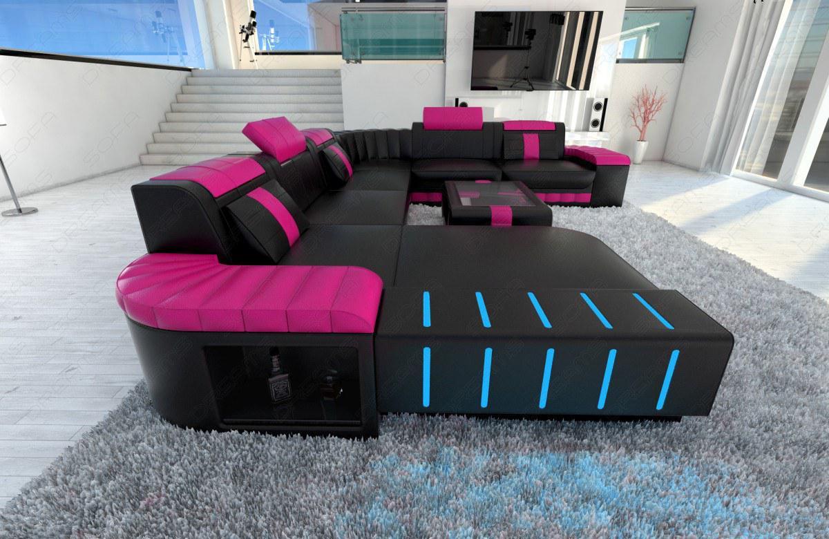 xxl wohnlandschaft bellagio mit led schwarz pink kaufen. Black Bedroom Furniture Sets. Home Design Ideas