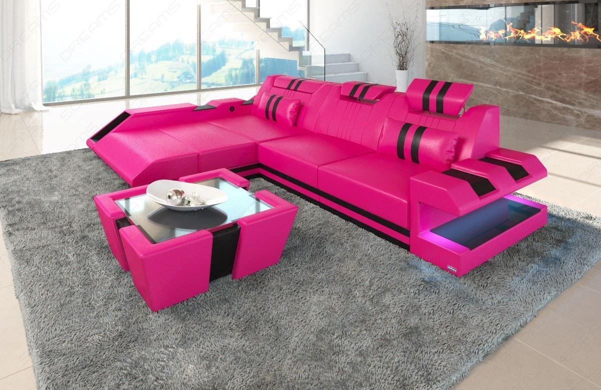 ledersofa apollonia als ecksofa in der l form mit led. Black Bedroom Furniture Sets. Home Design Ideas