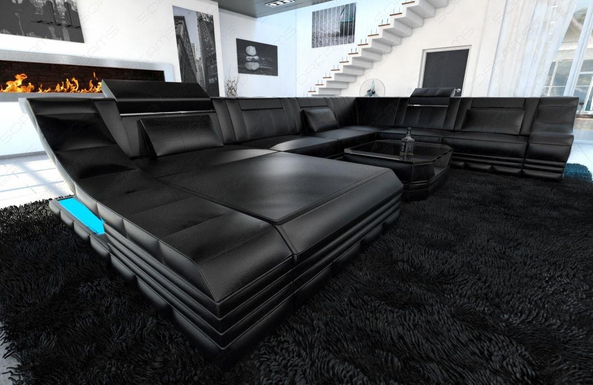Sofa Wohnlandschaft Turino Als Xxl Mit Leder Bezogen Kaufen Bei