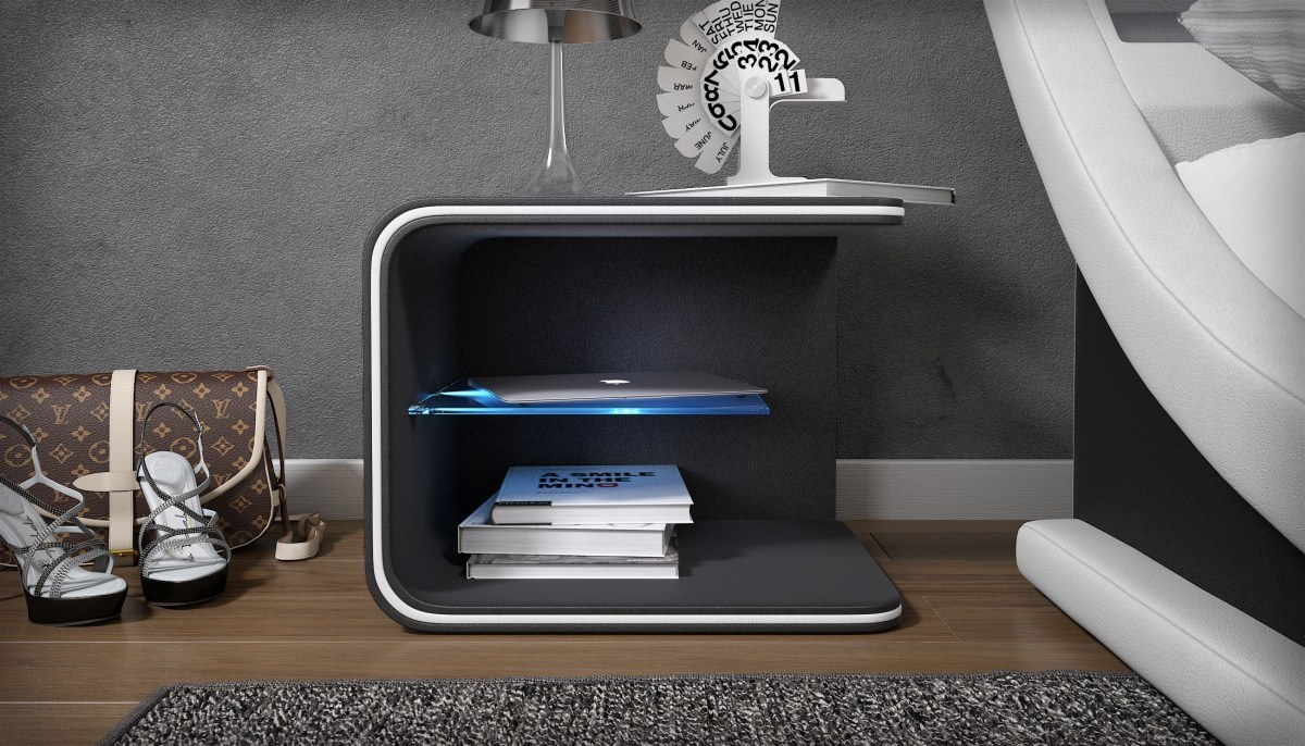 nachttisch glow mit beleuchtung kaufen bei pmr. Black Bedroom Furniture Sets. Home Design Ideas