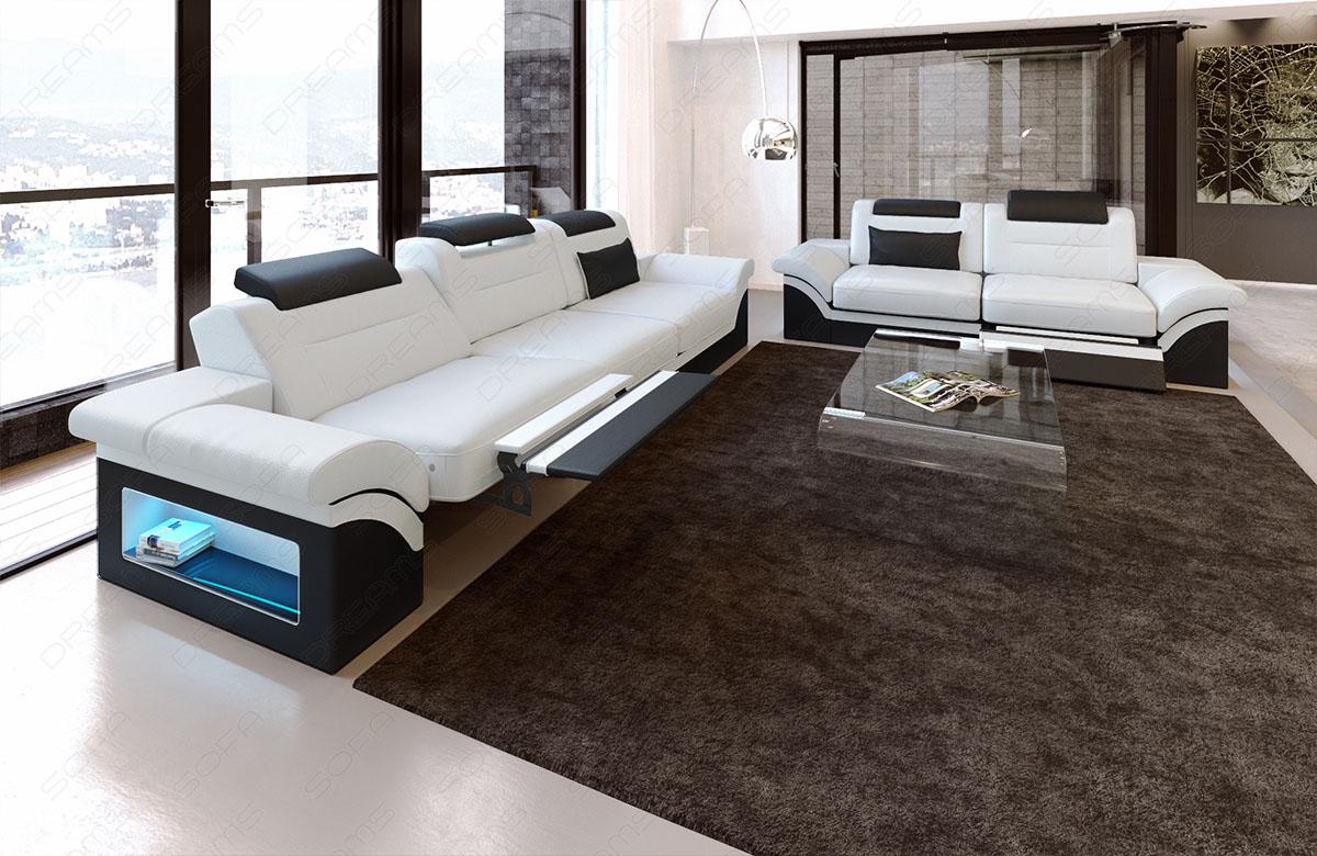 Leder Sofagarnitur Monza Mit 3 Sitzer Und 2 Sitzer Sofa Kaufen Bei