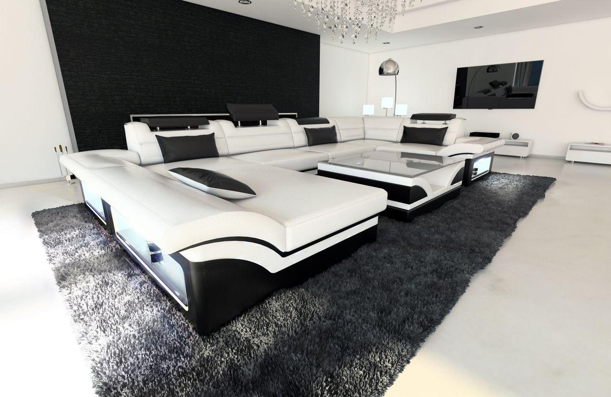 leder wohnlandschaft enzo u form weiss schwarz kaufen bei pmr handelsgesellschaft mbh. Black Bedroom Furniture Sets. Home Design Ideas