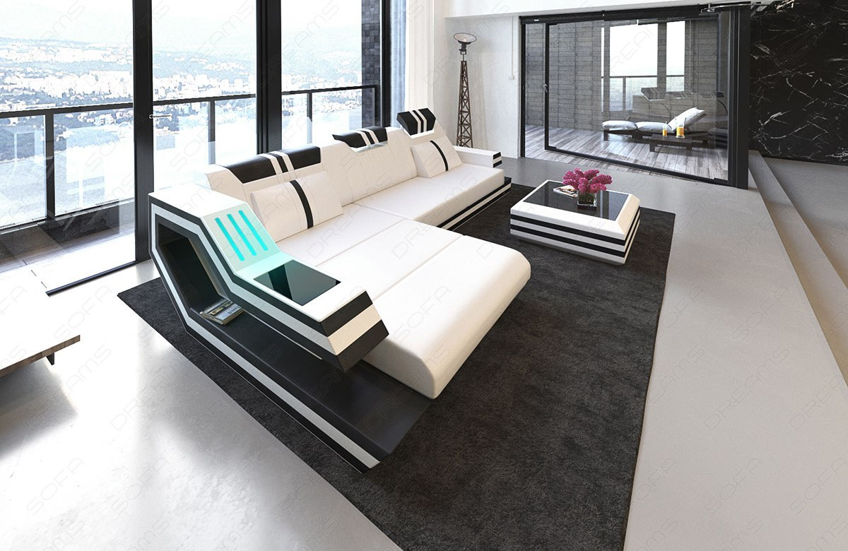 ledersofa ravenna in l form auch mit bettfunktion und led licht kaufen bei pmr. Black Bedroom Furniture Sets. Home Design Ideas