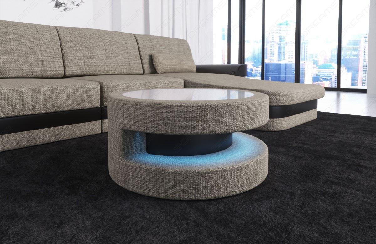 runder stoff couchtisch modena mit glasplatte und beleuchtung kaufen bei pmr. Black Bedroom Furniture Sets. Home Design Ideas