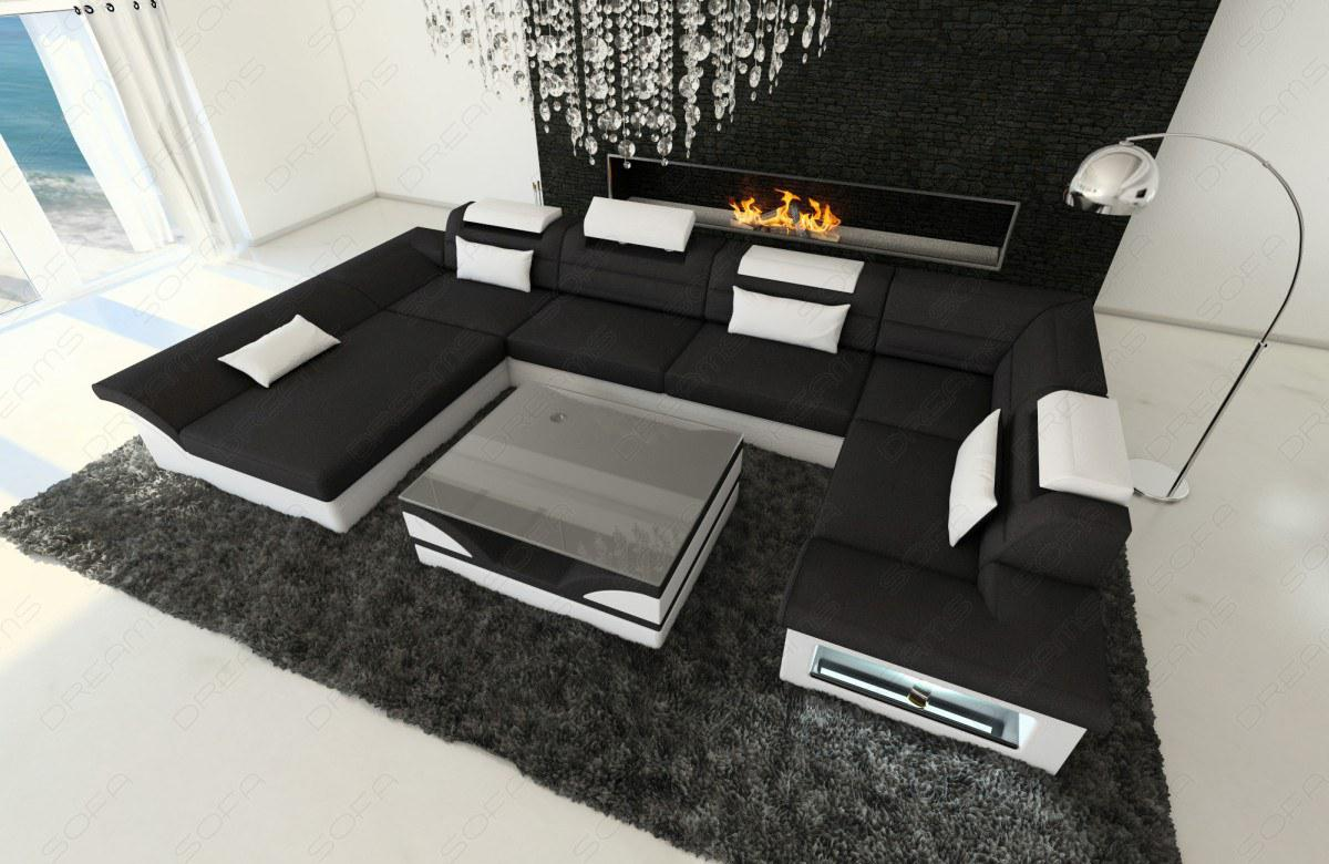 stoff leder sofa enzo u form schwarz kaufen bei pmr handelsgesellschaft mbh. Black Bedroom Furniture Sets. Home Design Ideas
