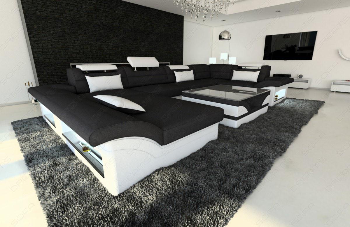 stoff leder sofa enzo u form schwarz kaufen bei pmr handelsgesellschaft mbh. Black Bedroom Furniture Sets. Home Design Ideas