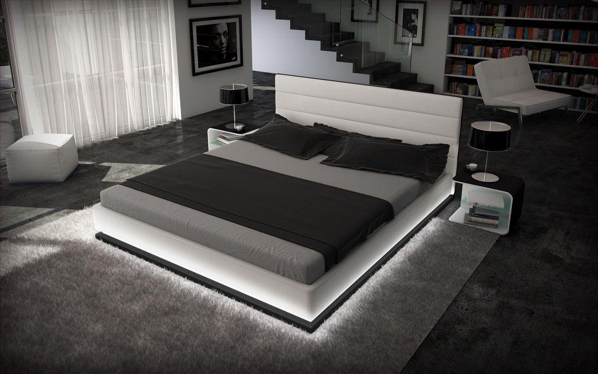 designer bett moonlight bettgestell mit led beleuchtung 140x200 160x200 180x200 200x200. Black Bedroom Furniture Sets. Home Design Ideas