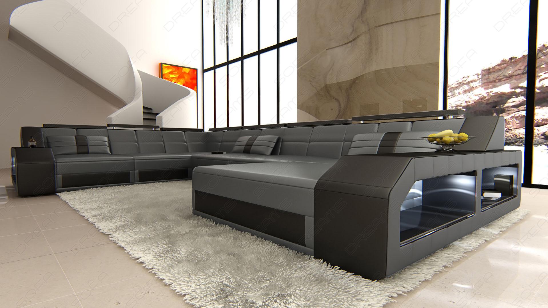 Design Wohnlandschaft Matera Xxl In Den Farben Grau Schwarz Und