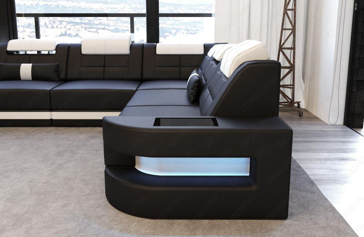 Couch U Form Como In Leder Mit LED Beleuchtung